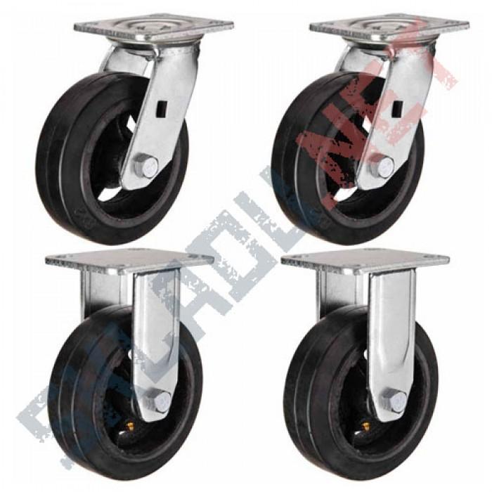 Комплект чугунных колес  диаметром 200 мм 2 поворотных и 2 не поворотных