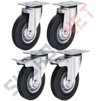 Комплект литых колес  диаметром 160 мм 2 поворотных с тормозом и 2  поворотных