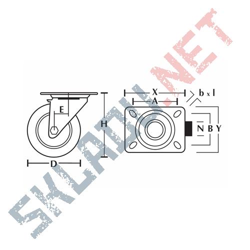 Опора колесная поворотная EM01 VKV 80