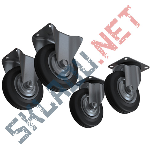 Комплект колес диаметром 125 мм 2 поворотных и 2 не поворотных
