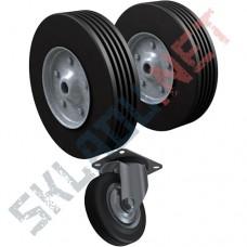 Комплект 2 литых 250 мм и 1 поворотная опора 160 мм для спец. тележек