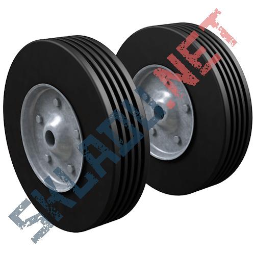 Комплект литых колес для двухколесных тележек диаметром 250 мм