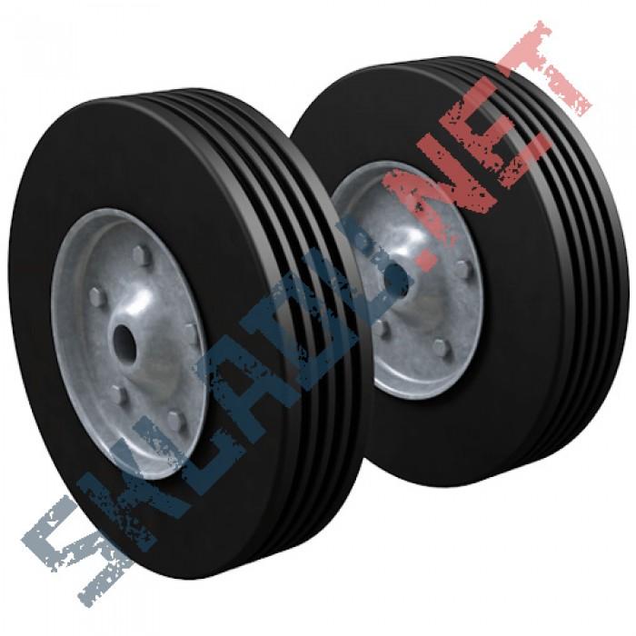 Комплект литых колес для двухколесных тележек диаметром 200 мм