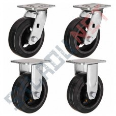 Комплект чугунных колес  диаметром 250 мм 2 поворотных и 2 не поворотных