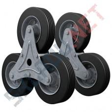 Комплект колес для лестничной тележки - 2 блока по 3 колеса диаметром 160 мм