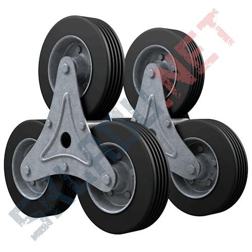 Комплект колес для лестничной тележки - 2 блока по 3 колеса диаметром 160мм