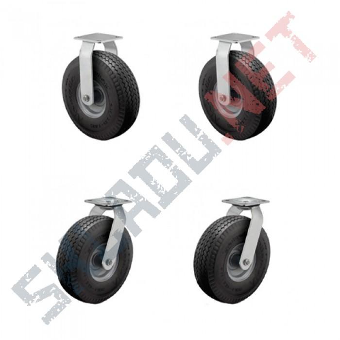 Комплект пневматических колес  диаметром 218 мм 2 поворотных и 2 не поворотных