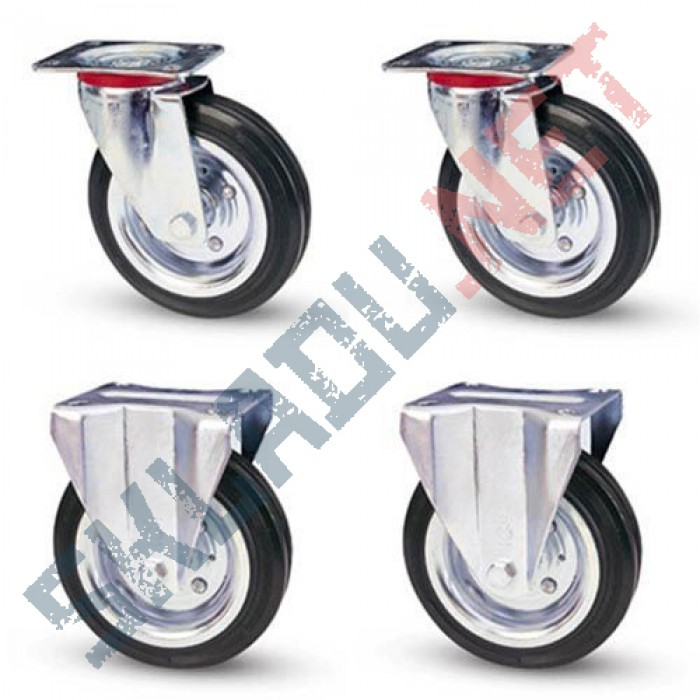 Комплект усиленных колес  d200 мм 2 поворотных и 2 не поворотных